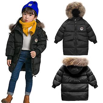 Kids Unisex Padded Bubble Parka Winter Coat With Faux Fur Trim Hood - Black