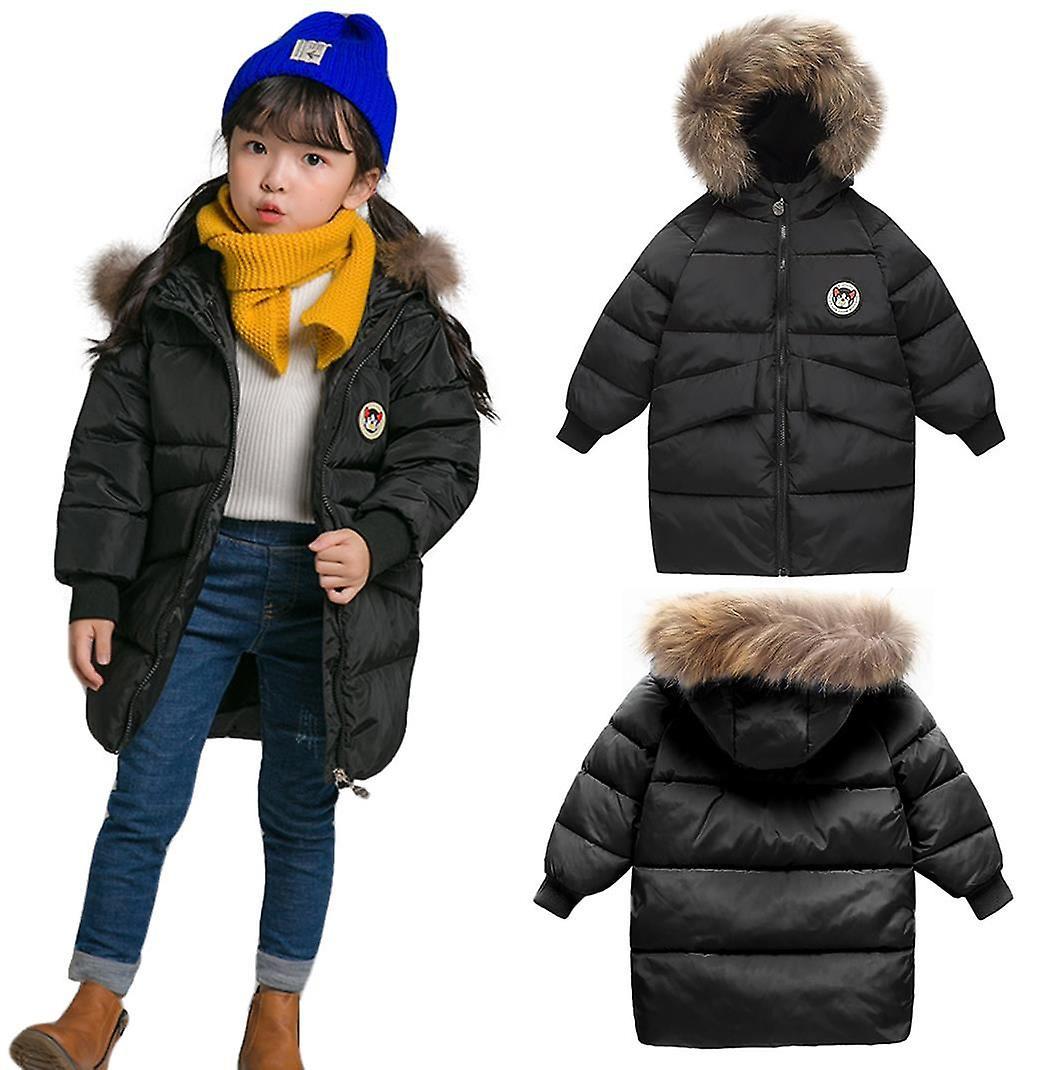 Black Kids Unisex Padded Bubble Parka Winter Jacket with Faux Fur Trim Hood