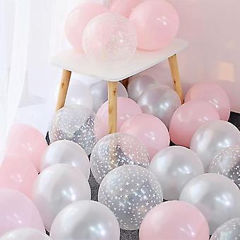 Star And Clear Design, 12 Inch Latex Balloon Set For Wedding, Baby Shower,