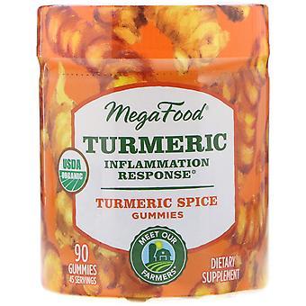 MegaFood, Turmeric, Inflammation Response, Turmeric Spice, 90 Gummies