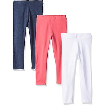 Essentials Little Girls' 3-Pack Leggings, Navy Heather/Raspberry/White...