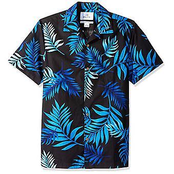 28 Palms Män & apos; s Standard-Fit 100% Bomull Tropisk Hawaiian Shirt, Svart / Blå M...