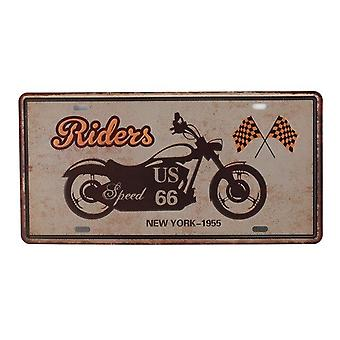 Vintage Metal Tin Signs - Bar Club Wall Garage Usa Route 66 Car Number License Plate Plaque Home Decoration