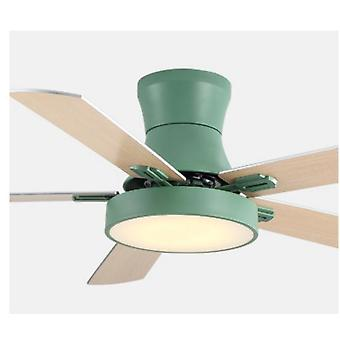 5 Blad Solid Wood Ceiling Fans Lamps With Lights For Living Room Home