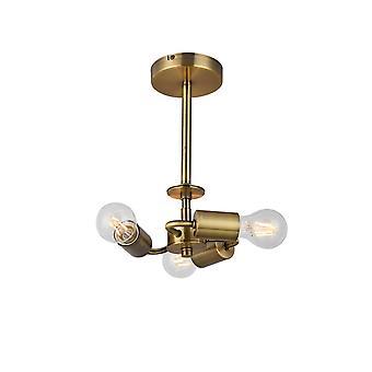 Inspired Deco - Baymont - Antique Brass 3 Light E27 Universal Semi Flush Ceiling Fixture, adecuado para una amplia selección de sombras