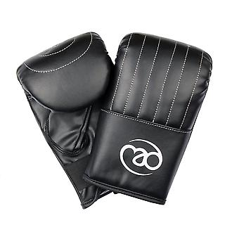 Fitness Mad PVC Leather Mitt Boxing Training Gloves Black Sizes Small - Extra
