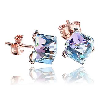 Ah! Jewellery 18K Rose Gold Vermeil Over Sterling Silver 6mm Vitrail Light Crystals From Swarovski Studs, Stamped 925