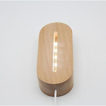 Oval Wooden Base Led Table Lamp With Usb Switch, Modern Night Light With