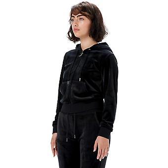 Juicy Couture Robertson Velour Zip Front Hoodie Preto 71