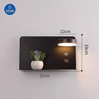 Led Wall Lights With Switch And Usb Interface Fashion White Black Lamp