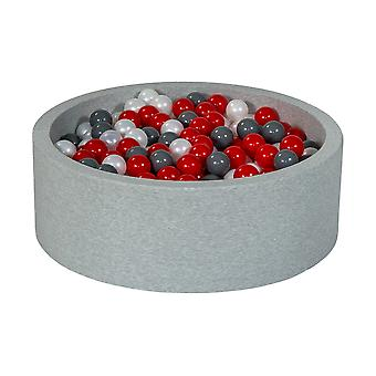 Ball pit 90 cm with 450 balls mother of pearl, red & grey