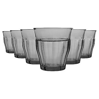 Duralex 6 Piece Picardie Drinking Tumbler Glasses Set - Tempered Glass Tumblers for Water, Juice, Whisky - Grey - 250ml