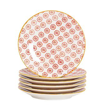 Nicola Spring 6 Piece Hand-Printed Side Plate Set - Japanese Style Porcelain Dessert Bread Plates - Red - 18cm