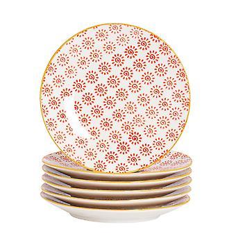 نيكولا الربيع 6 قطعة اليد المطبوعة مجموعة لوحة جانبية - نمط اليابانية الخزف أطباق الخبز الحلوى - أحمر - 18cm