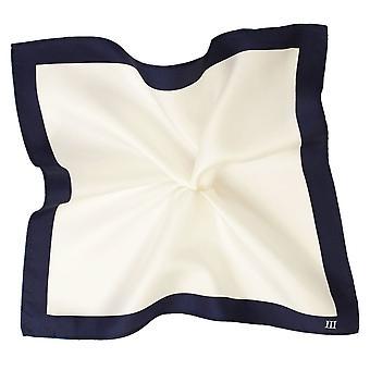 Krawatten Planet Tresanti weiß mit Marine blau Rand Seide Tasche Quadrat Taschentuch