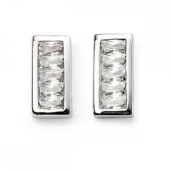 Beginnings Sterling Silver Channel Set Cubic Zirconia Bar Stud Earrings E5555C