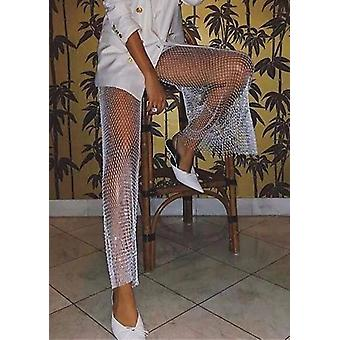 Wide Leg Diamante Fishnet Side Split Flare Pantalones Blanco