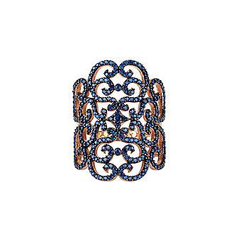 Grevinne Filigrane Cocktail Ring Sapphire Blå Rosegold