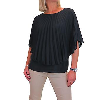 Women's 2 in 1 Pleated Chiffon Blouse Cape Style Top Round Neck 10-22