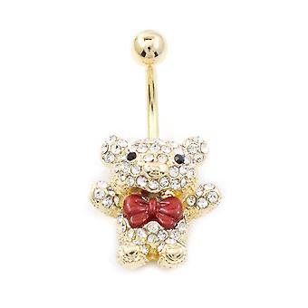 Nabel ring mit Teddybär Design mit roten Schleife und mehrere cz 14g gold ip