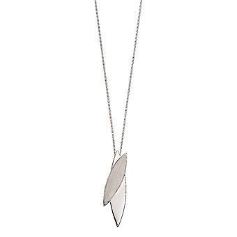 Fiorelli Silver Womens 925 Sterling Zilver geborsteld en gepolijst Navette hanger ketting van lengte 41cm + 5cm