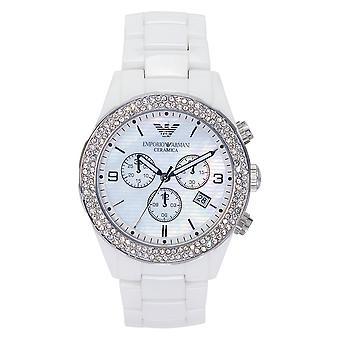 Armani Ar1456 Naisten Valkoinen Kristalli Keramiikka Kello