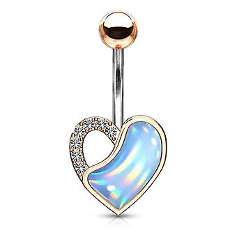 Belly button ring with crystal paved and illuminating stone filled heart - 14g