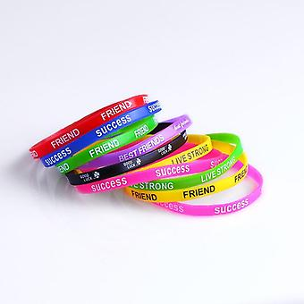 Silicone Bracelets & Bangles Women Fluorescent Rubber Fitness Wristband