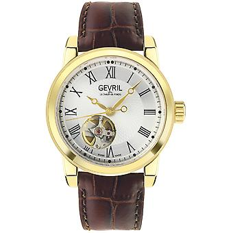 Gevril Men's Madison IPG Silver Dial Brown Leather