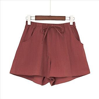 Γυναίκες Καλοκαίρι Λινάρι Σορτς Βαμβακερό Λινό Παντελόνι Υψηλή Μέση Lady's Χαλαρά