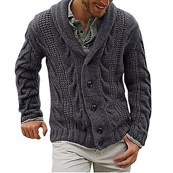 YANGFAN Men's Solid Color Knitted Lapel Cardigan