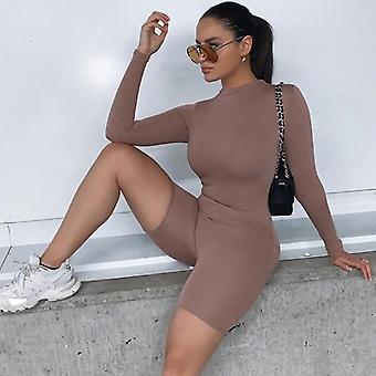 Podzimní ženy sexy kombinéza streetwear dlouhý rukáv bodycon solid zima