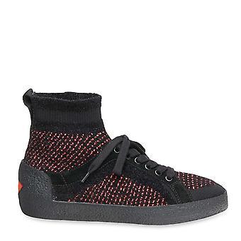 الرماد الأحذية النينجا تويد متماسكة المدربين الأسود / الأحمر