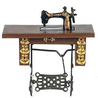 Κούκλες Σπίτι Vintage Treadle ραπτομηχανή μινιατούρα μοδίστρες έπιπλα 1:12