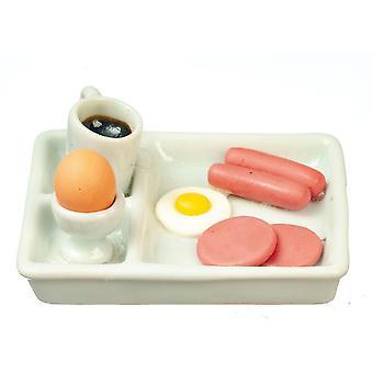 Puppen Haus volles Frühstück Tablett Miniatur Küche Essen Esszimmer Zubehör