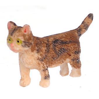 Dolls House Brown Kitten Walking Miniature Pet Cat 1:12 Scale
