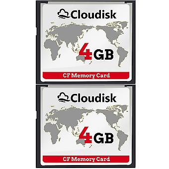 Cloudisk 2x compacte flash 4gb cf geheugenkaart prestaties voor vintage digitale camera (2pcs 4 gb) 2x 4