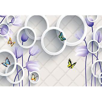 Fondo de pantalla Mural 3d con flores violetas,