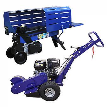 Log Splitter 5T Electric & Stump Grinder 13HP Tree Root 2000W Hydraulic 3L