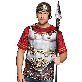 Shirt Roman Men's Polyester Silver / Red Size M