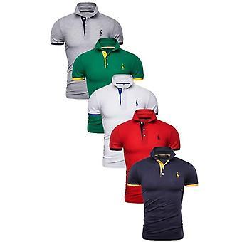 Polo Men Solid Slim Fit Short Sleeve Patchwork Shirt
