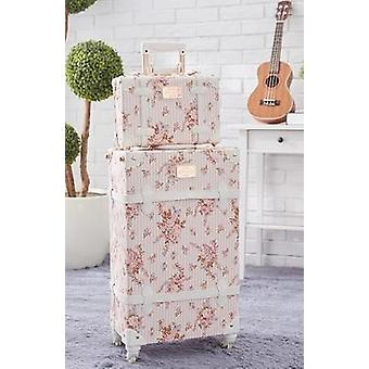 Retro Pink Pu Leather Rolling Luggage Set, Spinner Suitcase, Wheel Vintage