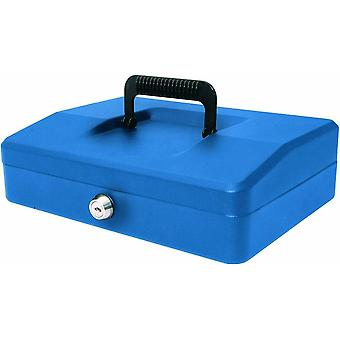 Helix Cash Box Lockable with Removable Coin Tray x2 Keys - 10 inch - Blue Steel