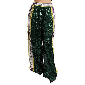 Green Sequin Trousers Queens Angel Pants