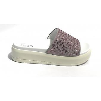 Sapatos para mulheres Liu-jo Ciabattona Fondo Alto Mod. Logo Coronel. Branco/ Rosa/ Lantejoulas Ds18lj13