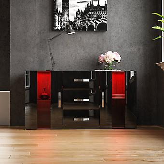 Astro 2 Door 3 Drawer LED Sideboard High Gloss Cabinet, Walnut & Black