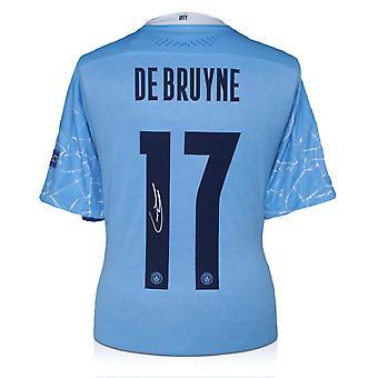 Kevin De Bruyne a signé le maillot de Manchester City 2020-21 (imprimé européen)