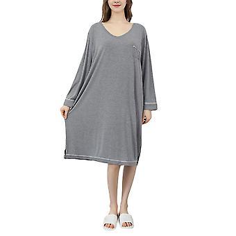 YANGFAN Loose Nightgowns for Women Long Sleeve Sleepshirt M-XL
