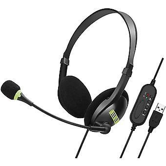 USB-Headset mit Mikrofon und Geruschunterdrckung und Audio-Steuerung, USB-PC-Kopfhrer, super leicht