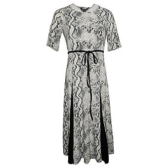 Nina Leonard Dress Women's Petites Nicole Belted White 685869